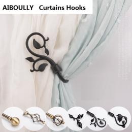 AIBOULLY 2 sztuk/zestaw uchwyt kurtyny zasłony do salonu Holdback zasłony dekoracji akcesoria Tieback liście kurtyny haki
