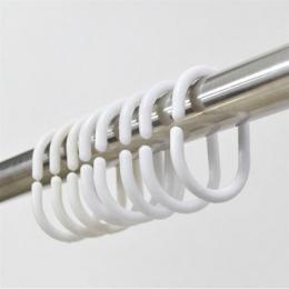 Praktyczny 12 sztuk praktyczne prysznic haczyk do zasłony wieszak pierścień do kąpieli zasłona pętli klip Glide wygodna wymiana