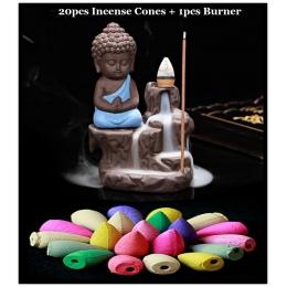 20 Pc stożki kadzidełka + palnik kreatywna dekoracja do domu mały mnich mały budda kadzidełko z wodospadem kadzidło palnika wyko