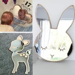 Dzieci Cartoon dekoracyjne lustro łazienka pokój dziecka królik gwiazda drewno akrylowe lustro rama kreatywny domu sztuki dekora