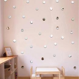50 sztuk/zestaw DIY akrylowe lustro Dot naklejki ścienne naklejki dekoracji ścian w salonie domu 2 cm okrągły kształt łazienka n