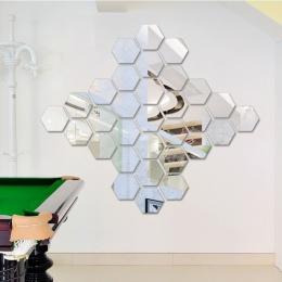 12 sztuk/zestaw sześciokątne 3D lustro naklejki ścienne restauracja przejściach i korytarzach podłogi osobowości dekoracyjne lus