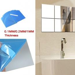 16 sztuk 15x15 cm DIY samoprzylepne lustro naklejki ścienne lustro kwadratowe naklejka lustro ścienne dekoracje 1mm (srebrny)