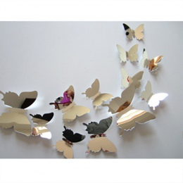 Akcesoria do dekoracji domu lustro srebrny wysokiej jakości Stereo lustro motyl sypialnia salon tło dekoracyjne lustro