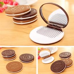 Mini kieszonkowy czekoladowe ciasteczka kompaktowe lustro z grzebień