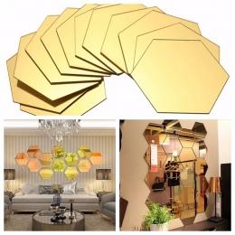 1 zestaw sześciokątne 3D lustro naklejki ścienne restauracja przejściach i korytarzach podłogi osobowości dekoracyjne lustro wkl
