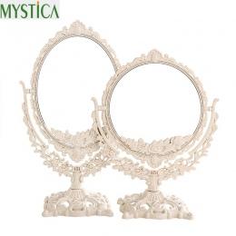 NEW360 obrotowy kobiety lustro do makijażu w stylu Vintage kwiatowy owalne okrągłe uchwyt lustro księżniczka elegancki makijaż p