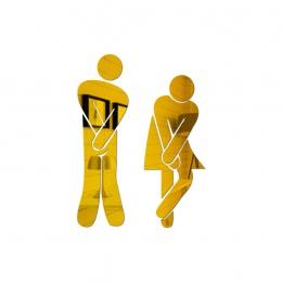 Wymienny ładny mężczyzna kobieta toaleta toaleta WC naklejki ścienne rodzina DIY wystrój lustro naklejki wystrój domu do łazienk