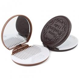 Przenośny Mini śliczne kawaii panie dziewczyny lustro modne czekoladowe ciasteczka w kształcie lustro kosmetyczne makijaż czekol