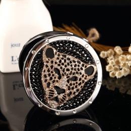 Wygrawerować słowa za darmo, bling rhinestone tiger leopard głowy, kieszonkowe lustro Mini Beauty, druhna prezent na Boże Narodz