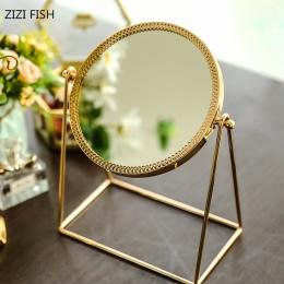 Miedzi stołowe lusterko do makijażu złoty wc szkło lustro księżniczka okrągłe lustro z przenośne lusterko kosmetyczne espejos de