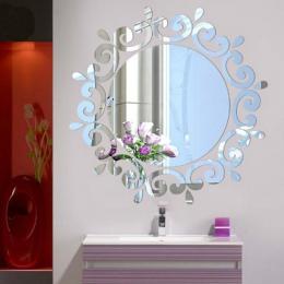 Wejście sufitowe lustro naklejki, luksusowe sztuczne kwiaty dekoracyjne ubieranie się lustro Art Vinyl Mural Decor ściany sufitu