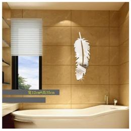 Akrylowe dekoracyjne lustro naklejki ścienne łazienka trójwymiarowa pasta pióra monolityczne 3D sypialnia salon lustro