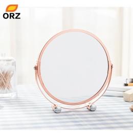 ORZ różowe złoto lustro do makijażu okrągły dwustronny 1X/2X powiększające łazienka biuro w domu pulpit dekoracyjne lustro