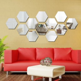 2 sztuk sześciokątne 3D lustro naklejki ścienne restauracja przejściach i korytarzach podłogi osobowości dekoracyjne lustro wkle