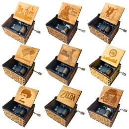 Antyczne rzeźbione drewniane Music Box gra o tron ręczne muzyczne pudełka star wars Caja de musica drop shipping