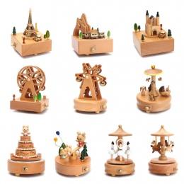 Zakka pudełka drewniane karuzela muzyczna pozytywka Kawaii rzemiosło drewna Retro prezent urodzinowy w stylu Vintage akcesoria d
