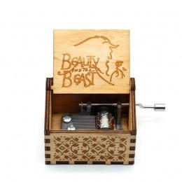 Anonimowość drewniane korby ręczne piękna i bestia Music Box Davy Jones medalion motyw drewniane pudełko muzyka