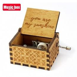 Drewniana rzeźba ręcznie wykonane jesteś moim słońcem Music Box boże narodzenie dla dzieci urodziny szczęśliwy prezent Moon Rive