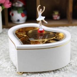 W kształcie serca w kształcie serca taniec baleriny pozytywka biżuterii karuzela obrotowe Music Box prezent dla dziewczyn D