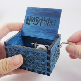 Niebieski antyczne rzeźbione drewniane harry potter music box, prezent na Boże Narodzenie, nowy rok prezent, prezent urodzinowy