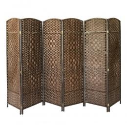Panana krótkie ekran chiński styl Vintage 6 Panel ściany działowe z wikliny składane konsoli salon badania pokoju dzielnik