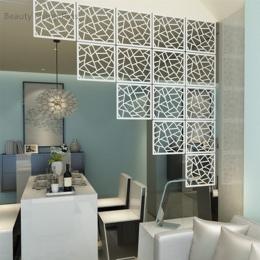 12 sztuk 29x29 cm wiszące ekrany salonu dzielnik panele partycji Wall Art dekoracje dla domu DIY biały z drewna i tworzywa sztuc