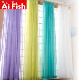 Europejski i amerykański styl biały okno przesiewowe stałe zasłony drzwiowe zasłona panelowa Sheer Tulle do salonu AP184 #3- 40