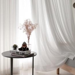 Biały tiul zasłony do salonu dekoracji nowoczesny szyfonowa stałe Sheer Voile zasłona kuchenna