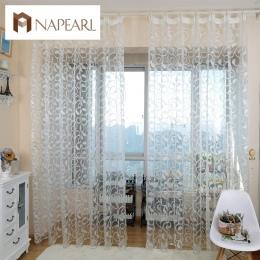 NAPEARL amerykański styl żakardowy kwiatowy wzór zasłony okna sheer do sypialni tiul tkaniny salon nowoczesne gotowe krótkim
