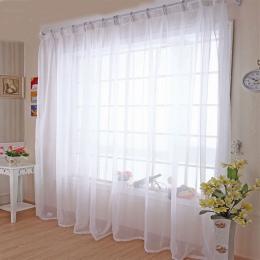 Tiulowe zasłony kuchenne Translucidus nowoczesne dekoracje na okno biały Sheer Voile zasłony do salonu pojedynczy Panel B502