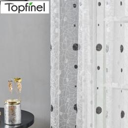 Topfinel gniazdo ptaka Sheer zasłony kropki haftowane zasłonki kuchenne salon sypialnia Tulle dla systemu Windows leczenie Panel