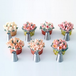 7 sztuk/zestaw rosyjski dysze tulipan porady oblodzenie rurociągi dysze krem ciasto końcówki ozdabiające zestaw ciasto Cupcake d