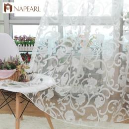 NAPEARL europejski styl żakardowe wzór sheer panel zasłona tiulowa do salonu balkon organza tkaniny europejski styl okna