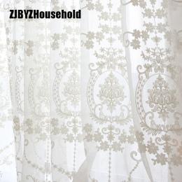 Wysokiej jakości biały haft kwiat ekrany europejski styl woal Tulle Sheer do sypialni salon zasłony okna zasłony