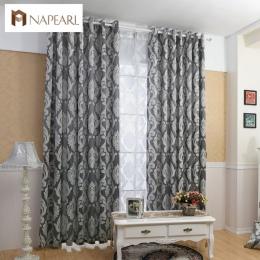 NAPEARL zasłony okna salon żakardowe tkaniny luksusowe zasłony zaciemniające panel zasłony do salonu krótkie czarne kurtyny