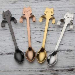 Śliczne kot łyżeczki łyżki ze stali nierdzewnej Cartoon Cat kreatywny lodowy deser długi uchwyt kawa i łyżeczka do herbaty zasta