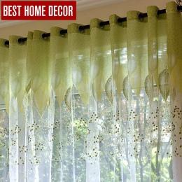 """Dyrektyw """"naturowych"""" sheer tulle okno zasłony do salonu sypialni kuchni nowoczesne tiulowe zasłony zielone liście tkaniny rolet"""