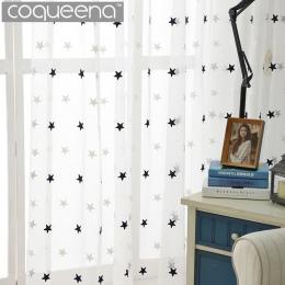 Nowoczesne gwiazda haftowane biały Sheer zasłony do salonu sypialnia tiulowe zasłony kuchenne dla dzieci pokój dziecięcy drzwi o