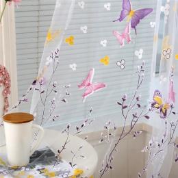 2017 1 sztuk motyl gałęzie drukowane Tulle zasłony do salonu kryty przesiewania okna wystrój balkon Burnout zasłona typu woal