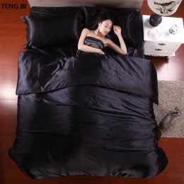 HOT! 100% czysta satyna jedwabny zestaw pościeli, tekstylia domowe łóżko typu king size zestaw, pościel, kołdra pokrycie płaskie