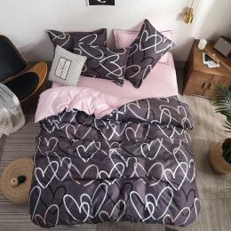 Pościel luksusowy zestaw różowy miłość 2/3/4 sztuk zestaw rodzinny narzuta na kołdrę i prześcieradło poszewka na poduszkę chłopi