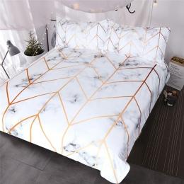 BlessLiving marmur tekstury pościel zestaw czarny biały złoty kołdra pokrywa zestaw 3-kawałek stylowe łóżko okładka inspirowane