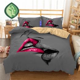 HELENGILI 3D zestaw pościeli usta druku pościel kołdra pokrywa zestaw realistyczne z poszewki na poduszkę łóżko – zestaw tekstyl