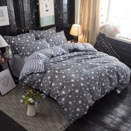 Tekstylia domowe szary pościel gwiazda kołdra pokrywa zestaw pościel z nadrukiem + kołdra okładka + poszewka na poduszkę włochy