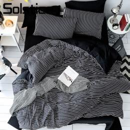 Przesilenie tekstylia domowe czarny biały pasek krótkie pościel zestaw chłopiec dziecko dziewczyny dorosłych miękka kołdra okład