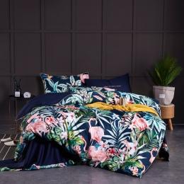 Pościel z egipskiej bawełny miękkie kołdra wyposażony/łóżko zestaw arkuszy wielu kolor Flamingo Paisley pościel zestaw Twin król