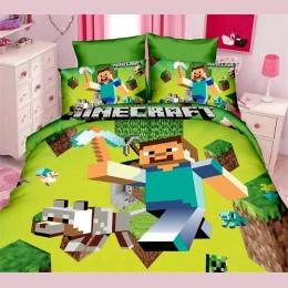 Tekstylia domowe śliczne Minecraft drukowane zestawy pościeli dla dzieci postać z kreskówki łóżko okładka prześcieradło poszewka