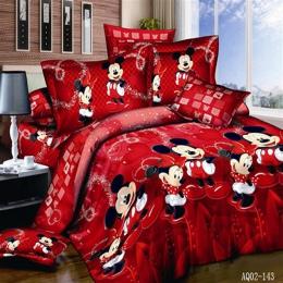 100% bawełna czerwony kolor Mickey Mouse kołdra/kołdra pokrycie płaskiego arkusza Twin pełna królowa łóżko king-size pościel pos