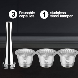 4 sztuk/zestaw Nespresso ze stali nierdzewnej kapsułki kawy do ponownego napełniania nowa wersja sabotaż do kawy wielokrotnego u